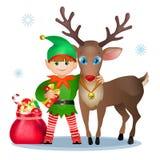 Śmieszny elf i renifer. ilustracji