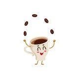 Śmieszny energiczny kawy espresso filiżanki charakter żongluje kawowe fasole royalty ilustracja
