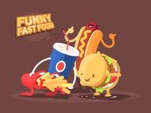 Śmieszny fast food royalty ilustracja