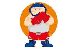 Śmieszny gruby bokser ilustracja wektor