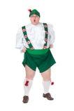 Śmieszny gruby mężczyzna jest ubranym Niemiecki Bawarskiego odziewa fotografia royalty free