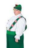 Śmieszny gruby mężczyzna jest ubranym Niemiecki Bawarskiego odziewa zdjęcia stock
