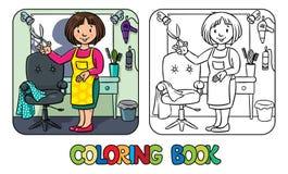 Śmieszny hairdresseror fryzjer męski książkowa kolorowa kolorystyki grafiki ilustracja royalty ilustracja