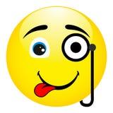 Śmieszny i dziwaczny uśmiech z monocle w oku Zdjęcie Stock