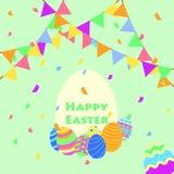 Śmieszny i Kolorowy Szczęśliwy Wielkanocny powitanie przyjęcie karta z ilustracją jajka, sztandar, flaga, confetti przyjęcie i te royalty ilustracja