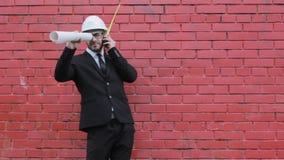 Śmieszny i szalony budowniczego inżyniera architector świętuje biznes rozochoconego zbiory