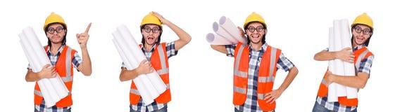 Śmieszny inżynier odizolowywający na białym bielu Obrazy Stock