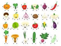 Śmieszny jarzynowy charakter - set Grupa szczęśliwy ogórek ilustracja wektor