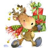 Śmieszny jeleni Święty Mikołaj beak dekoracyjnego latającego ilustracyjnego wizerunek swój papierowa kawałka dymówki akwarela ilustracja wektor
