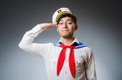 Śmieszny kapitanu żeglarz Zdjęcia Royalty Free