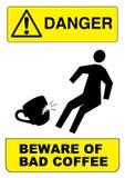 Śmieszny kawowy znak ostrzegawczy Obrazy Royalty Free