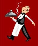 śmieszny kelner royalty ilustracja