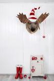 Śmieszny klasyczny Santa bożych narodzeń dekoraci tło w czerwieni i obrazy royalty free