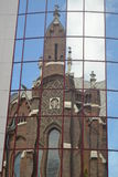 Śmieszny kościół w lustrze Zdjęcia Royalty Free