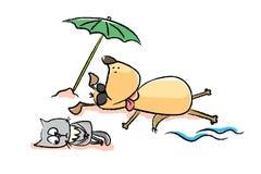 Śmieszny kot i pies na plaży ilustracji