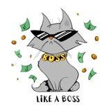 Śmieszny kot pod pieniądze deszczem Royalty Ilustracja