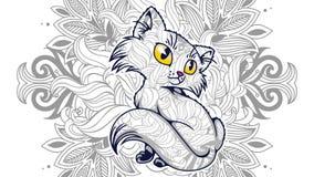 śmieszny kot w kwiecistym tła doodle dla dorosłej stresu uwolnienia kolorystyki strony ilustracji