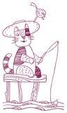 Śmieszny kota połów royalty ilustracja