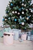 Śmieszny królika królik przy prezenta pudełkiem pod nowego roku drzewem Szczęśliwy winte Obraz Royalty Free