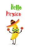 Śmieszny kreskówka banan w Meksykańskim kapeluszu wąsy i Hola amigo dostępny karty eps kartoteki lato Mieszkanie styl również zwr Obraz Royalty Free