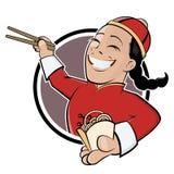 Śmieszny kreskówka chińczyk royalty ilustracja
