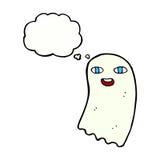 śmieszny kreskówka duch z myśl bąblem ilustracji