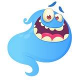 Śmieszny kreskówka ducha śmiać się Wektorowa błękitna duch ilustracja Obrazy Royalty Free