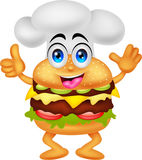 Śmieszny kreskówka hamburgeru szefa kuchni charakter Fotografia Royalty Free