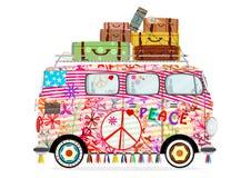 Śmieszny kreskówka hipisa autobus royalty ilustracja