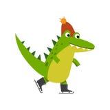 Śmieszny kreskówka krokodyla charakteru łyżwiarstwo jest ubranym trykotową kapeluszową wektorową ilustrację ilustracji