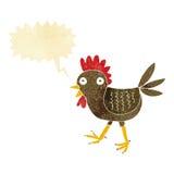 śmieszny kreskówka kurczak z mowa bąblem Obrazy Royalty Free