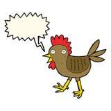 śmieszny kreskówka kurczak z mowa bąblem Fotografia Royalty Free