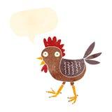 śmieszny kreskówka kurczak z mowa bąblem Obraz Stock