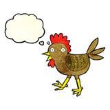 śmieszny kreskówka kurczak z myśl bąblem Zdjęcia Royalty Free