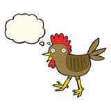 śmieszny kreskówka kurczak z myśl bąblem Obrazy Royalty Free