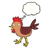 śmieszny kreskówka kurczak z myśl bąblem Fotografia Royalty Free