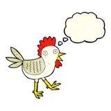 śmieszny kreskówka kurczak z myśl bąblem Zdjęcia Stock