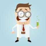 Śmieszny kreskówka naukowiec Zdjęcia Stock