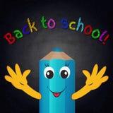 Śmieszny kreskówka ołówek na chalkboard tle tylna szkoły Obraz Stock