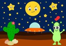 Śmieszny kreskówka obcy w miłości z śliczną kaktusową humor ilustracją ilustracja wektor