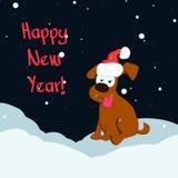 Śmieszny kreskówka pies w kapeluszu szczęśliwego nowego roku, również zwrócić corel ilustracji wektora Fotografia Stock