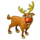 Śmieszny kreskówka renifer z czerwonym nosem Obrazy Stock