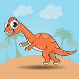Śmieszny kreskówka stylu dinosaur royalty ilustracja