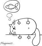 Śmieszny kreskówki nakreślenia kota tło Obraz Royalty Free
