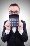 Śmieszny księgowy z kalkulatorem obrazy royalty free