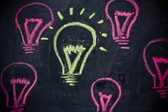 Śmieszny lightbulb na blackboard, pojęcie jedyność obrazy stock