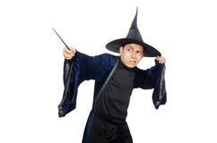 Śmieszny mądry czarownik odizolowywający Fotografia Royalty Free