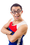 Śmieszny mężczyzna ćwiczyć Fotografia Stock