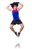 Śmieszny mężczyzna ćwiczyć odizolowywam Fotografia Stock