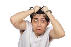 Śmieszny mężczyzna cierpienie od zaburzenia psychiczne Obraz Stock